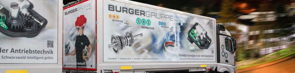 Fahrzeuge der Burgergruppe als europaweite Werbefläche